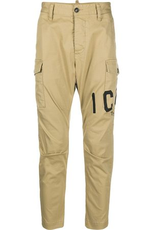 Dsquared2 Men Cargo Pants - Logo printed cropped cargo trousers