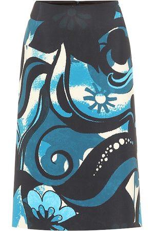 DRIES VAN NOTEN Printed scuba pencil skirt