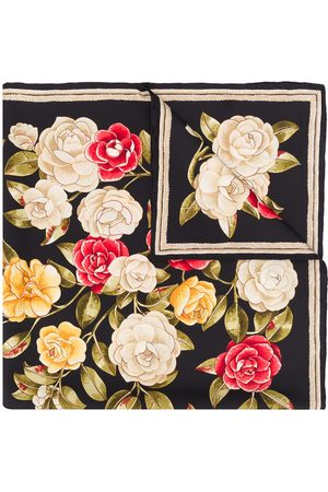 CHANEL 1990s rose print scarf