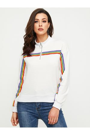 YOINS White Zip Design High Neck Long Sleeves Sweatshirt