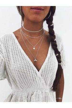 YOINS Fishtail Peandant Beaded Details Multi-layer Necklace