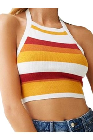YOINS Yellow Striped Halter Sleeveless Crop Top