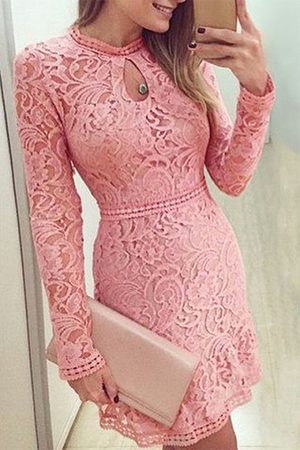 YOINS Lace Design Crew Neck Long Sleeves Dress