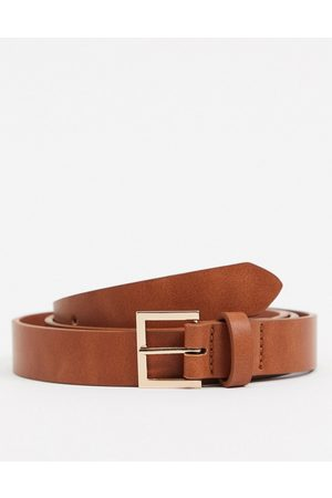 ASOS Skinny belt in faux leather with gold buckle