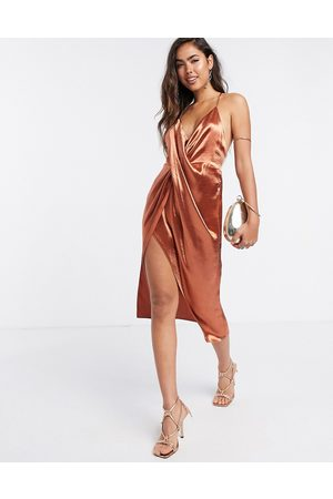 ASOS Drape front cami slip dress with strap back detail