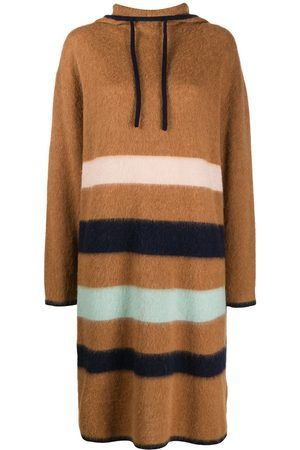 Lanvin Striped hooded knitted dress