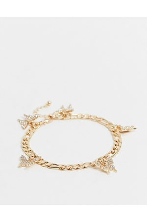 ASOS Anklet with butterfly charms in tone