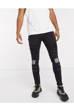 Brave Soul Skinny fit biker jean in charcoal wash