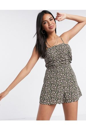Missguided Ruched cami playsuit in floral print