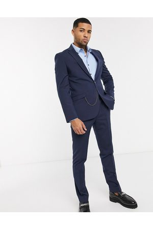 Shelby & Sons Slim suit jacket in with pocket chain
