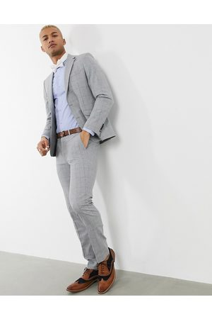 Shelby & Sons Slim suit jacket in check with pocket chain