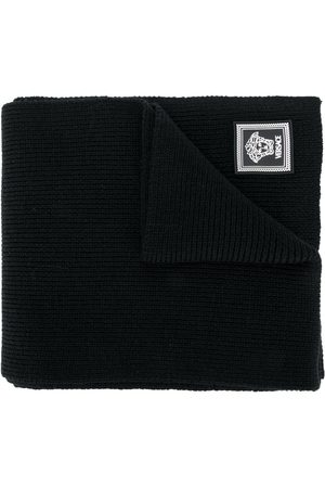 VERSACE Ribbed knit wool scarf