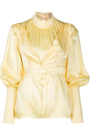 MATÉRIEL by Aleksandre Akhalkatsishvili Mock neck bell sleeve blouse