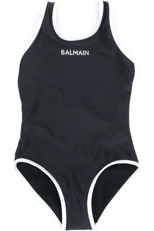 Balmain Rhinestone logo one-piece swimsuit