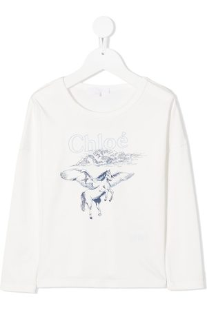 Chloé Pegasus print top with embroidery