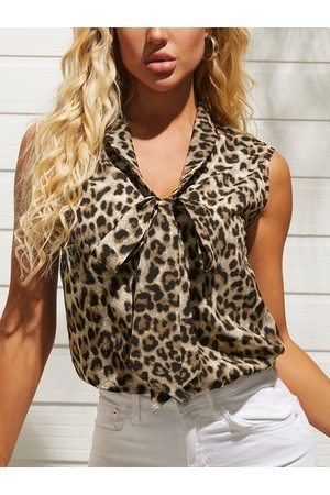 YOINS Brown Leopard Tie-up V-neck Sleeveless Blouse