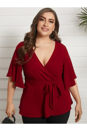 YOINS Plus Size V-neck Belt Design Wrap Design Blouse