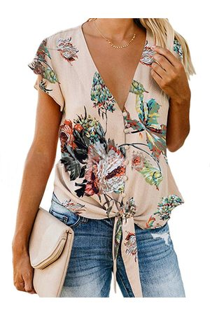 YOINS Tie-up Design Random Floral Print V-neck Ruffle Sleeves Blouse