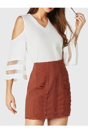 YOINS Rust Crochet Lace Embellished Mini Skirt