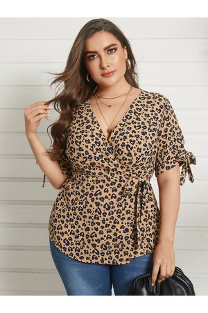YOINS Plus Size V-neck Leopard Wrap Design Short Sleeves Blouse