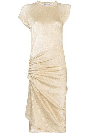 Paco rabanne Cap sleeve asymmetric hem wrap midi dress