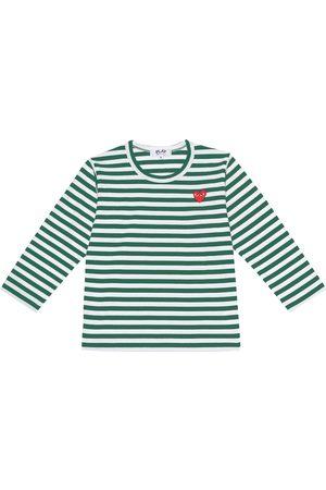 Comme de Garçons Play Kids Striped cotton logo T-shirt