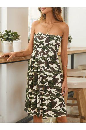 YOINS Camo Shirring Tube top Strapless Sleeveless Dress