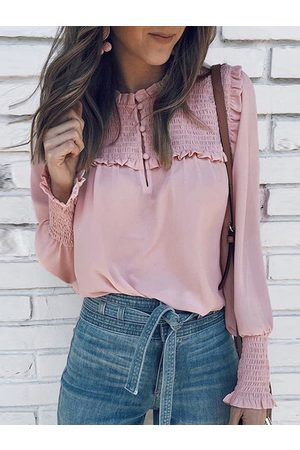 YOINS Pleated Design Crew Neck Long Sleeves Blouse