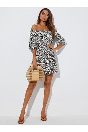 YOINS Leopard Tiered Design Ruffle Off the shoulder Half Sleeves Mini Dress