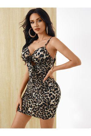YOINS Leopard Tie-up Cut out V-neck Sleeveless Dress