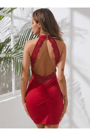 YOINS Red Halter Backless design lace trim Mini Dress