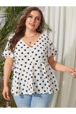 YOINS Plus Size V-neck Polka Dot Short Sleeves Blouse