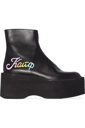 Natasha Zinko Kaif flatform leather ankle boots