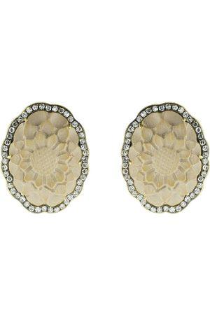 Sylva & Cie 18kt yellow gold diamond flower stud earrings