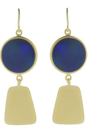 Sylva & Cie 18kt yellow gold Maya Collection opal earrings