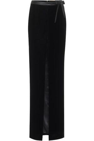Saint Laurent Velvet and satin maxi skirt