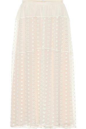 Chloé Embroidered silk crêpon midi skirt