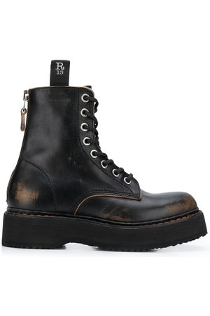 R13 Distressed lace-up boots