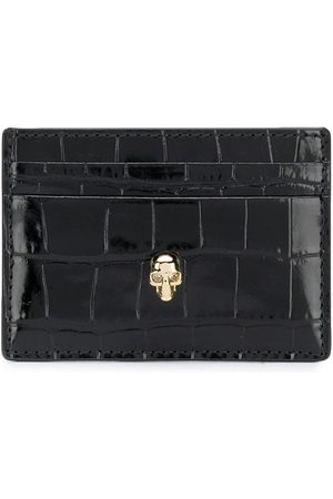 Alexander McQueen Men Wallets - Crocodile-embossed skull-stud cardholder