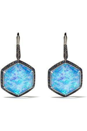 STEPHEN WEBSTER 18kt white gold Deco Haze diamond, hematite and opal drop earrings