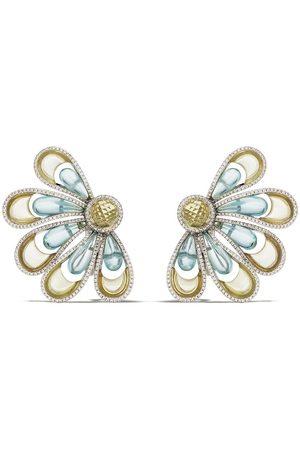 David Morris 18kt Vintage Aquamarine & Critrine Flower earrings