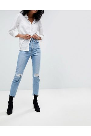 ASOS High rise farleigh 'slim' mom jeans in light vintage wash with busted knee and rip & repair detail