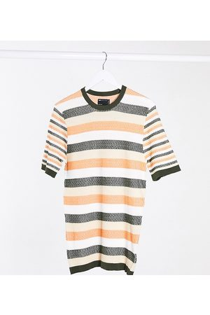 ASOS Tall muscle fit knitted t-shirt in and rust stripe