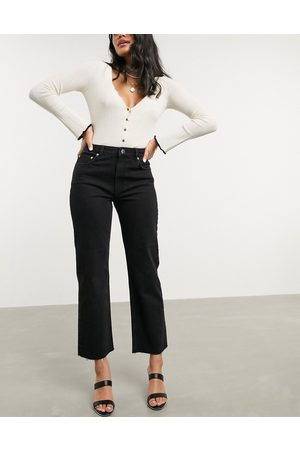 ASOS High rise stretch 'effortless' crop kick flare jeans in