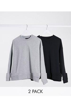 ASOS Oversized sweatshirt 2 pack black/grey marl