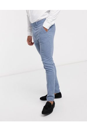 ASOS Wedding super skinny wool mix suit trousers in houndstooth check