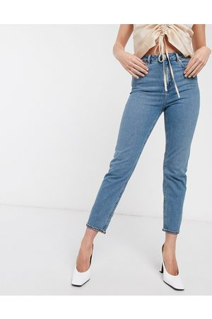 ASOS DESIGN Recycled high rise farleigh 'slim' mom jeans in mid vintage wash