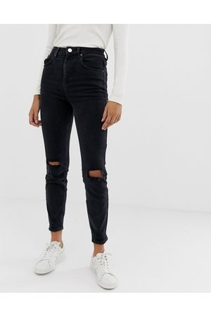 ASOS High rise farleigh 'slim' mom jeans in washed with busted knees