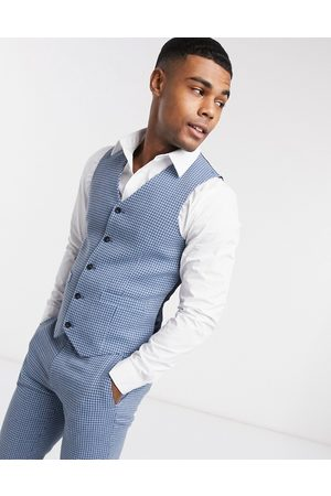 ASOS Wedding super skinny wool mix suit waistcoat in houndstooth check