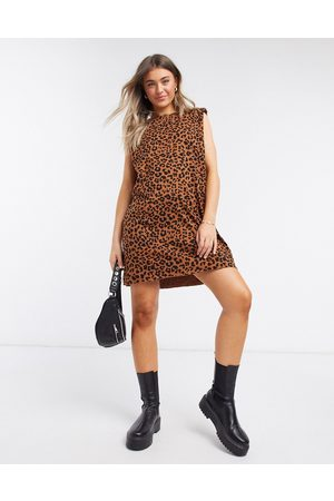 ASOS Women Printed Dresses - Padded shoulder sleeveless mini t-shirt dress in leopard print